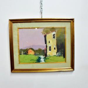 Quadro Dipinto 55*46 Casa Di Campagna Con Prato Verde