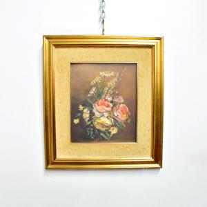 Quadro Dipinto 48*42 Cm Conposizione Di Fiori Di A. Furlan