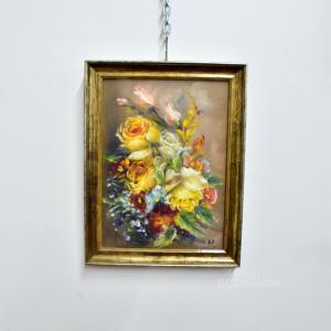 Quadro Dipinto 44*34 Cm Composizione Di Fiori Gialli Di A. Furlan