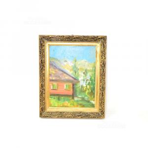 Quadretto Dipinto 28.5*23 Cm Baita Di Montagna