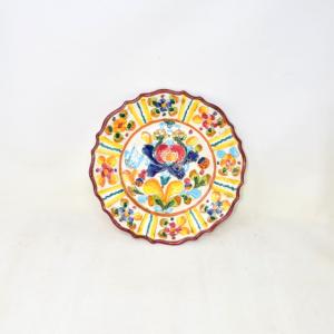 Piatto In Ceramica Di Siena Colorato Con Orchidea