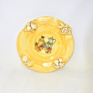 Piatto Ceramica Made In Italy Giallo