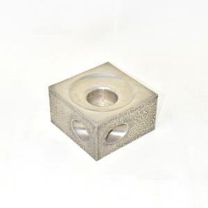 Base Quadrata Porta Candela Peltro 95% 10x10cm