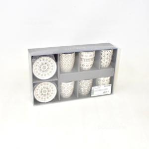 6 Tazzine Con Piattino Maison In Ceramica Bianca Con Disegni