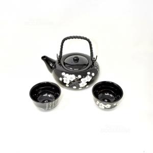Teiera Orientali Ceramica Nera + Tazzine
