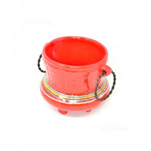 Vasetto Rosso In Carmica Con Maniglie In Rame