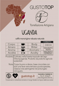 Single origin coffee in natural Uganda pod, pack of n. 50 paper pods ese 44 mm compatible