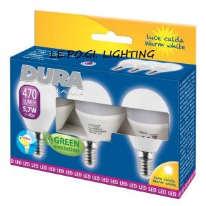 BLISTER 3 LAMPADINE SFERA 5,7W/E14 3000K DURALAMP
