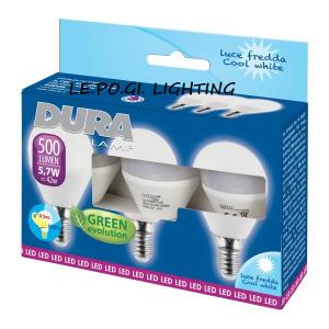 BLISTER 3 LAMPADINE SFERA 5,7W/E14 6400K DURALAMP
