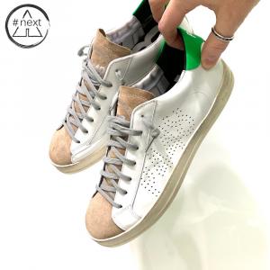 P448 - S20JOHN-M - sneakers pelle bianco, suede beige, verde fluo.
