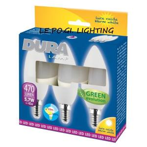 BLISTER 3 LAMPADINE CANDELA 5,7W/E14 3000K DURALAMP