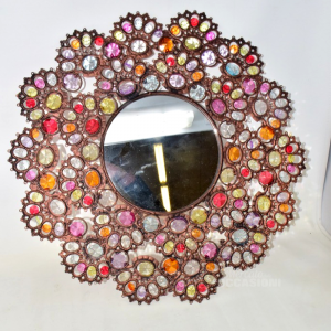 Specchio Ferro Diamanti Colorati 49cm