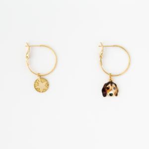 Orecchini a cerchio in ottone galvanizzato con ciondolo cane beagle , piastra e stella pendenti