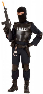 AGENTE S.W.A.T. (costume, giubbotto antiproiettile, cintura con fondina e borsellino, para ginocch 11/13 ANNI
