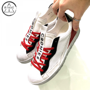 CROMIER - Sneakers Tecno nappa - bianco, rosso.