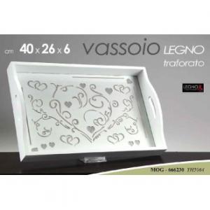 Vassoio in Legno Traforato 40x26x6cm