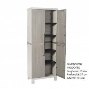 Armadio Wood Midi Colore Grigio Tuttopiani con 4 Ripiani Interni In Plastica per Organizzare Casa