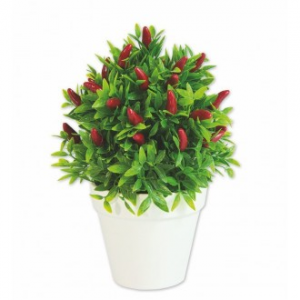 Vea Vaso di Peperoncino 23 cm Vaso Per Interno Bianco con Pianta Peperoncino Finto