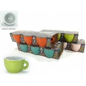 Confezione 6 Tazze Da Caffè Senza Piattino Seline Con Bordo Grosso Verde Arancione Blu Diversi Colori Assortiti Disponibili In Ceramica