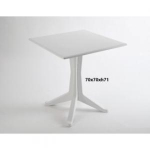 Tavolo Ponente Bianco Quadrato Per Interno ed Esterno Giardino In Polipropilene