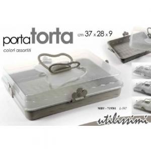 Porta Torta 37x28 cm Colore Beige Tortora Rettangolare Con Manici Decorata Per Conservare Dolci e Salati Casa Cucina