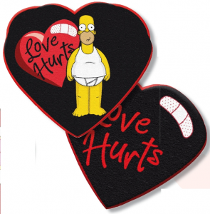 Simpson Homer Love Hurts Cuscino Cuore 35 cm