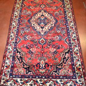 Tappeto Persiano 227*115 Cm Rosso Con Cornice Blu Fatto A Mano T