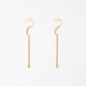 Orecchini semicerchio pendenti con stelle catena e microcristallo colorato