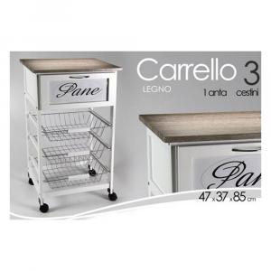 Gicos Carrello Porta Pane Legno Bianco/Grigio 85x47x35
