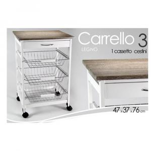Gicos Carrello Cucina Legno Bianco/Grigio 76x46x37cm