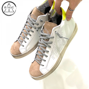 P448 - S20JOHN MID-M - sneakers pelle bianco, suede beige, giallo fluo.