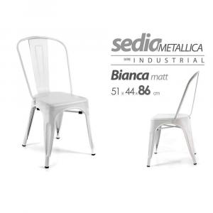 Gicos Sedia Metallica Bianco Matt.