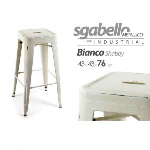 Gicos Sgabello Metallico Bianco Vintage Matt.