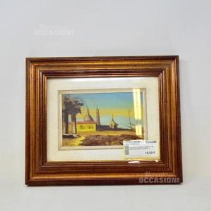 Quadretto Dipinto Chiesetta Sul Mare Con Barca 33*29cm