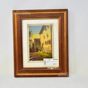 Quadretto Dipinto Donna In Centro 33*29cm