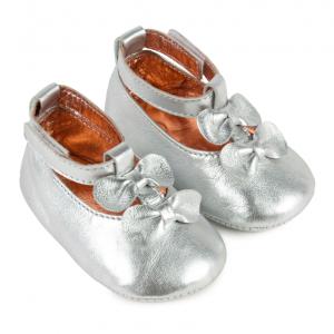 Scarpine neonata in pelle Carrément Beau color argento