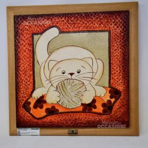 Quadro Cartapietra 36x36 Gatto Con Gomitolo