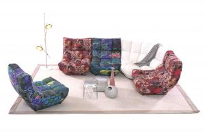 Fantasia - Divano ad angolo composto da 4 Poltrone modulari colorate e corner