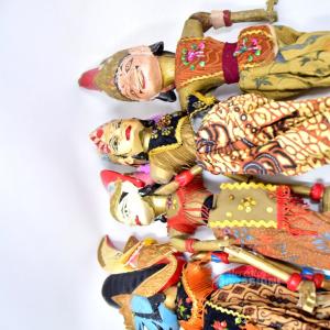 4 Marionette Orientali Antiche In Legno 60cm
