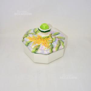 Oggetto Contenitore In Ceramica Disegno Mimose Con Coperchio