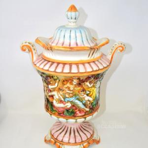 Vaso In Ceramica Con Tappo Capodimonte 47 Cm Di Altezza Dipinto A Mano
