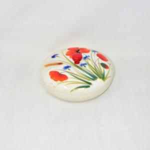 Biscottiera/portacaramelle Ceramica Vicenza Papaveri