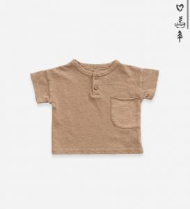 T-shirt in cotone organico con bottoni