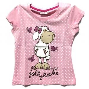 T-shirt rosa a pois PECORELLA a manica corta bambina - 4 e 9 anni