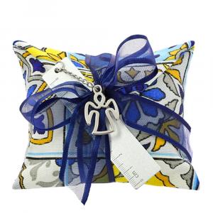 25 MINI-BUSTE fantasia Maiolica giallo e blu - BOMBONIERE