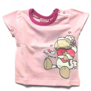 T-Shirt rosa e fucsia PECORELLA a manica corta neonata - 6 mesi