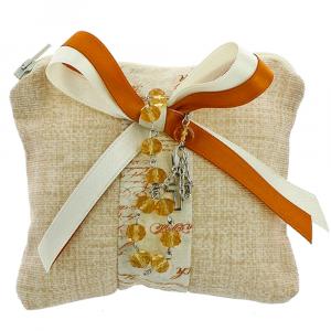 25 SACCHETTI beige con zip in lino - BOMBONIERE