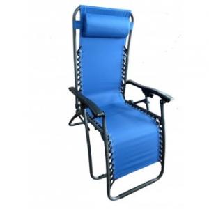Sedia A Sdraio Relax Colore Blu Struttura in Metallo Nero Casa Giardino Con Poggia Testa Comoda Confortevole Casa