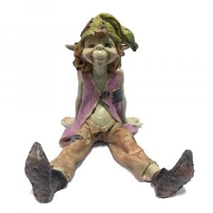 Statuina Pixie seduto in resina da collezione