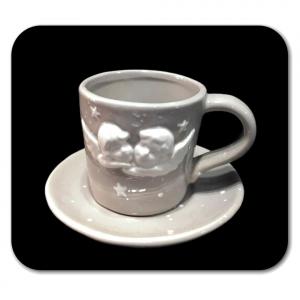 TAZZA CAFFE' grigia con cherubini bianchi in rilievo in ceramica